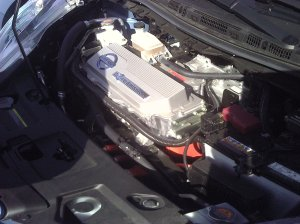 image of under the hood of a Nissan Leaf electric vehicle